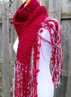 Valentine Hand Knit Scarf Seed Stitch Long Multi Fiber door Fanchi, $30.00
