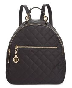 Tommy Hilfiger Isabella Quilted Nylon Dome Backpack, Created for Macy's - Black Backpack Travel Bag, Backpack Purse, Leather Backpack, Fashion Backpack, Tommy Hilfiger Bags, College Bags, Quilted Bag, Nylon Bag, Cute Bags