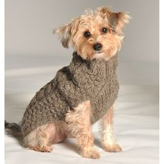 Small Dog Sweaters to Knit | Grey Cable Knit Dog Sweater by Chilly Dog at GlamourMutt