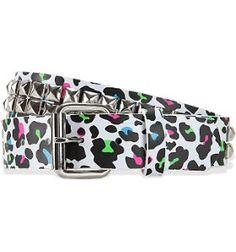 leopard print studded belt