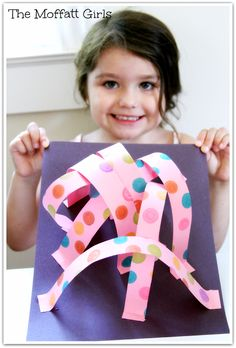 An Easy 3-D Art Project!  You just need construction paper, glue, scissors and dot markers!  So FUN and easy!