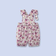 Liberty print overalls for baby, girl