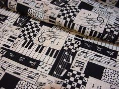 Music Fabric in Black and White. #blackandwhite http://www.pinterest.com/TheHitman14/black-and-white/