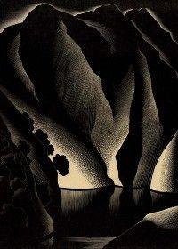 'Tuonela' (1934) by American artist & printmaker Paul Landacre (1893–1963). Wood engraving, 10.25 x 7.625 in. ty Keith Sheridan Fine Art Gallery. via 50 watts