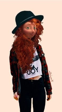 present day Merida could definitely be bæ Punk Disney, Walt Disney, Disney High, Disney Art, Disney Movies, Hipster Disney, Disney 2015, Hipster Princess, Modern Princess