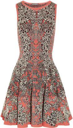 McQueen Flared Barnacle Intarsia Dress