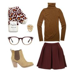Cute skirt and turtleneck Fall outfit, preppy and fun