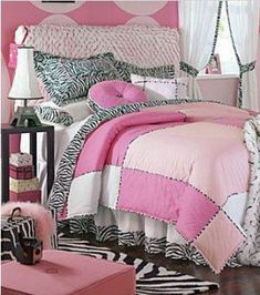 pink stuff | Retro Pink Zebra Print Bedding and Bedroom Decor