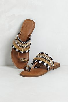 Leather sandals with black and white check fringe. The Gifts Of Life