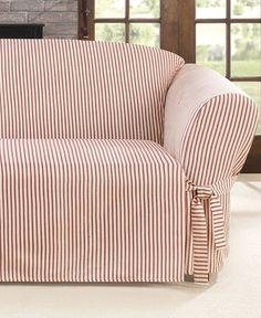 Sure Fit Ticking Stripe Sofa Schonbezug - Schonbezüge - For The Home - Macy's Slipcovered Sofa, Diy Furniture Plans, Slipcovers For Chairs, Diy Furniture Couch, Furniture Plans, Couch Furniture, Striped Sofa, Furniture Covers, Sofa Decor