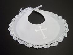 NEW Baby Christening Baptism Bibs Satin White or IVORY Dove Embroidered