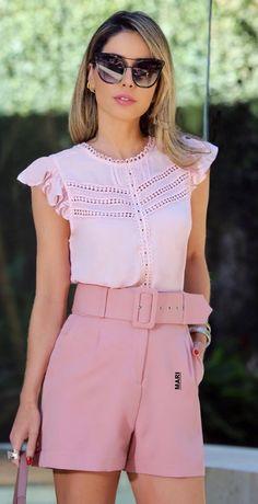 Pink Outfits, Dress Outfits, Fashion Dresses, Cute Outfits, Moda Casual, Hot Shorts, Chor, China Fashion, Refashion