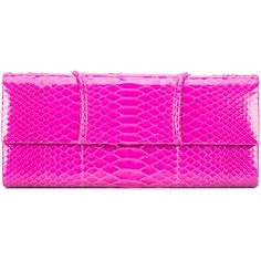 Susie Straubmueller long clutch bag ($1,880) ❤ liked on Polyvore featuring bags, handbags, clutches, snake print handbags, pink purse, python print handbag, magnetic closure handbags and snake print purse