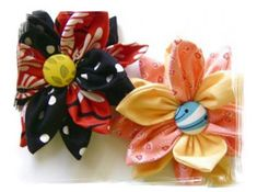 Sewn fabric flowers with DIY fabric-covered buttons.