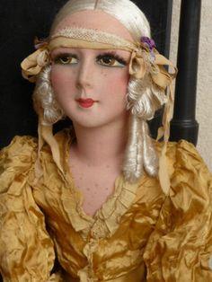 Antique French Boudoir Doll Paris 1920 RARE Silk 34inches Tall | eBay