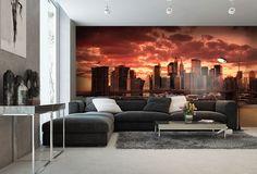 Západ slnka nad Manhattanom. Fototapeta na stenu XL-101 | DIMEX Wall Murals, Couch, Inspiration, Furniture, Home Decor, Wallpaper Murals, Biblical Inspiration, Settee, Decoration Home