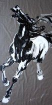 Galloping Horse, Large Black and White Original Painting Oil Painting 70 x 35 inches