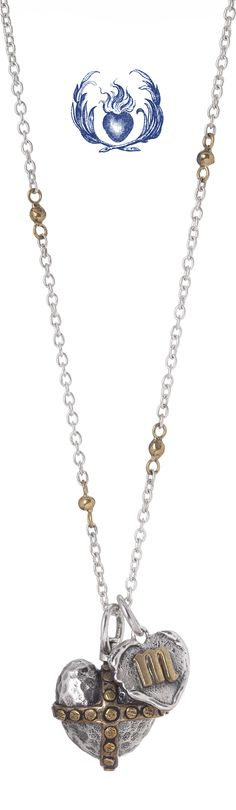 Waxing Poetic Heart Orb Pendant and Heart Insignia Charm on the Thin Cable With Brass Beads Chain.