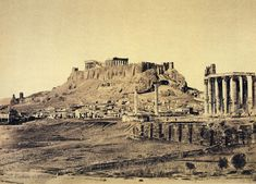 Athens : D Constantinidis The Acropolis, Athens. View from near ruined Classical temple towards houses at base of hill, on top of which stands Acropolis. Royal Collection Trust, Windsor Castle, Acropolis, Athens Greece, Buckingham Palace, Old Photos, Monument Valley, Temple, Places To Go