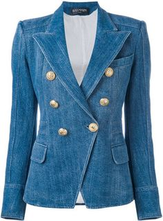 Balmain Denim Double Breasted Blazer Size 8 (M) off retail Blazer Jeans, Jeans Heels, Balmain Jacket, Balmain Blazer, Jacket Style, Jeans Style, Denim Fashion, Look Fashion, Diy Jeans
