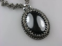 Inner Peace  Hematite Bead Embroidered Necklace by LiTelle on Etsy, $95.00