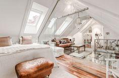 Elegant Attic Duplex with Glass Walls and Flooring - Stockholm, Sweden
