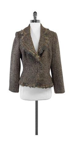 Carmen Marc Valvo Tweed & Feather Trim Jacket
