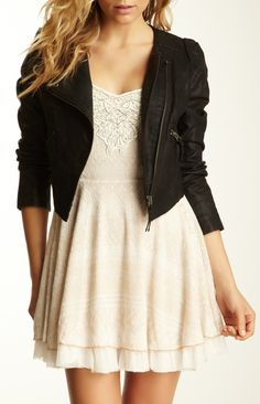 I could also go for this, if I were feeling a bit more girly that day. Moto Jacket / free people - black jacket over short white dress Girl Fashion, Fashion Beauty, Fashion Outfits, Womens Fashion, Fashion Design, Dress Skirt, Dress Up, Jacket Dress, Casual Outfits