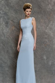 M631 - Slim fitting V-neck bridesmaids dress with pleated waist and beaded shoulders and back detail. #bridesmaids