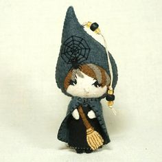 Felt Witch Doll Ornament Sweet Witch Wool Felt by BJGInspired