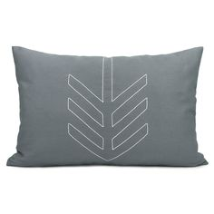 Geometric decorative pillow case - White arrow shape on charcoal grey cotton fabric geometric pillow cover - 12x18 lumbar pillow cover. $34.00, via Etsy.