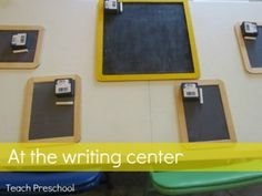 An invitation to play at each center from Teach Preschool. How to set up your centers to not only entice children to use them, but to focus their play on the concepts you want to develop. Writing Center Preschool, Teach Preschool, Preschool Centers, Kindergarten Literacy, Kids Writing, Preschool Classroom, Literacy Activities, Writing Skills, Classroom Ideas