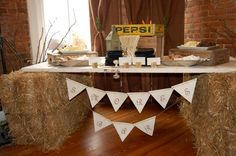 S'more Bar at McConnell House | Old Door and Straw Bales for table  #wedding #catering