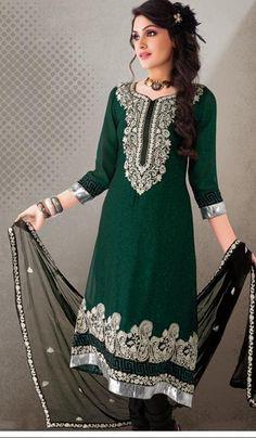 $66.36 Green Cotton Thread Work Anarkali Salwar Suit 23957