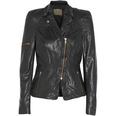 Muubaa Lyra leather biker jacket ($285) ❤ liked on Polyvore featuring outerwear, jackets, black, motorcycle jacket, leather jackets, leather biker jackets, asymmetrical zip moto jacket and rider jacket