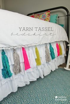 When decorating a guest or little girls room, consider this fun idea – a DIY Yarn Tassel Bedskirt. More DIY Fixer Upper Farmhouse Style Ideas on Frugal Coupon Living. Farmhouse Bedroom.