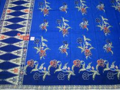 Batik Sarong Pareo Blue Beach Wear Bath Wrap Cotton Fabric Indonesian Traditional
