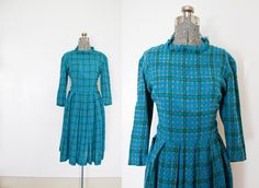 Vintage 1950s Dress  Wool Plaid Flanel Blue by dejavintageboutique