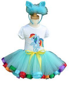 Rainbow Dash Pony 3 Piece Ribbon tutu by LilyPrincessBoutique Rainbow Dash Birthday, Rainbow Dash Party, My Little Pony Birthday Party, Birthday Tutu, 1st Birthday Girls, Birthday Ideas, Cumple My Little Pony, All My Little Pony, Little Pony Cake