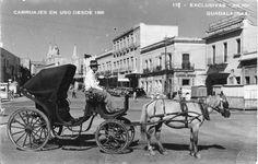 Guadalajara Jalisco Street Scene with Horse & Carriage Real Photo Postcard @1940
