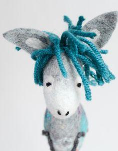 Franky  Small Felt Donkey. Art Toy. Felted donkey by TwoSadDonkeys