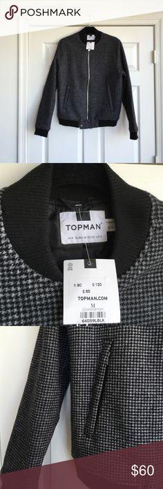 NWT Topman Bomber Jacket Houndstooth pattern in wool and polyester. Brand new. Never worn. Topman Jackets & Coats Bomber & Varsity