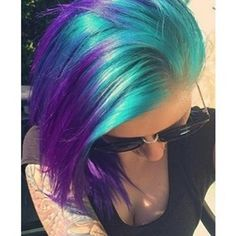 Purple and blue turquoise hair. Purple and blue turquoise hair. Turquoise teal girl babyturquoise and purple hairPurple and Turquoise hair Dye My Hair, New Hair, Temporary Hair Dye, Turquoise Hair, Purple Teal, Blue Green, Bright Green, Light Purple, Funky Hairstyles