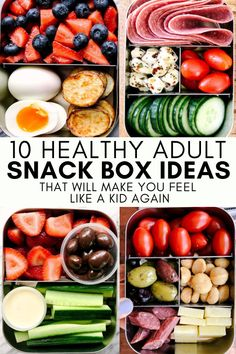 Snack Boxes Healthy, Healthy Lunches For Work, Work Meals, Lunch Snacks, Lunch Recipes, Healthy Recipes, List Of Healthy Snacks, Healthy Lunchbox Snacks, Healthy Breakfast Snacks