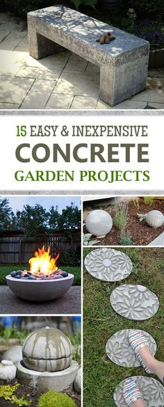 15 Easy & Inexpensive DIY Concrete Garden Projects