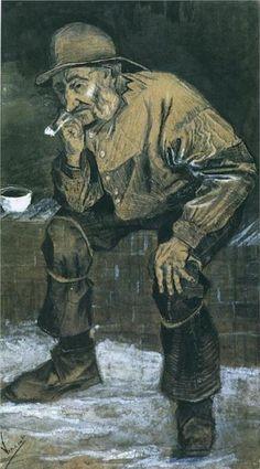 Vincent van Gogh.  Fisherman with Sou'wester, Sitting with Pipe, 1883. Pencil, wash, chalk, ink on paper. Rijksmuseum Kröller-Müller, Otterlo, Netherlands.