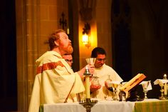 Western Dominican Vocations   Fr. Michael Hurley, OP, prepares the chalice during the offertory.