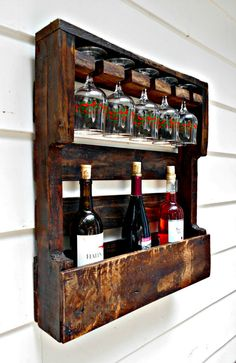 Rustic Wood Wine Rack, Reclaimed Wood, Wine Storage, Wine Container, 5 glass…