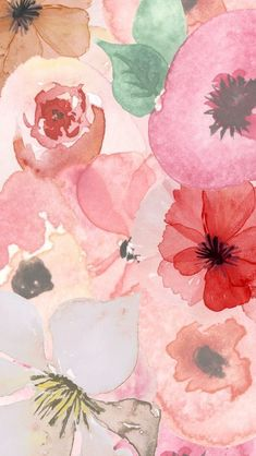 Flores acuarelas #watercolors painted #flowers #IphoneBackgrounds
