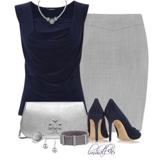 """Chic Professional Woman Work Outfit. """"Grey and Blue"""" by lmhall96 on Polyvore"""